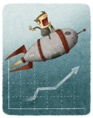 Businessman sitting on a rocket and flying over a finance graph