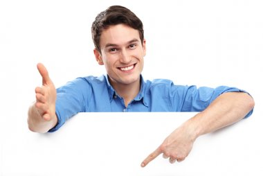 Young guy pointing