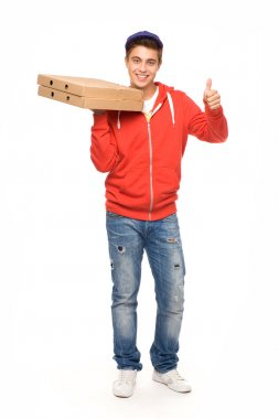 Pizza delivery man showing thumbs up