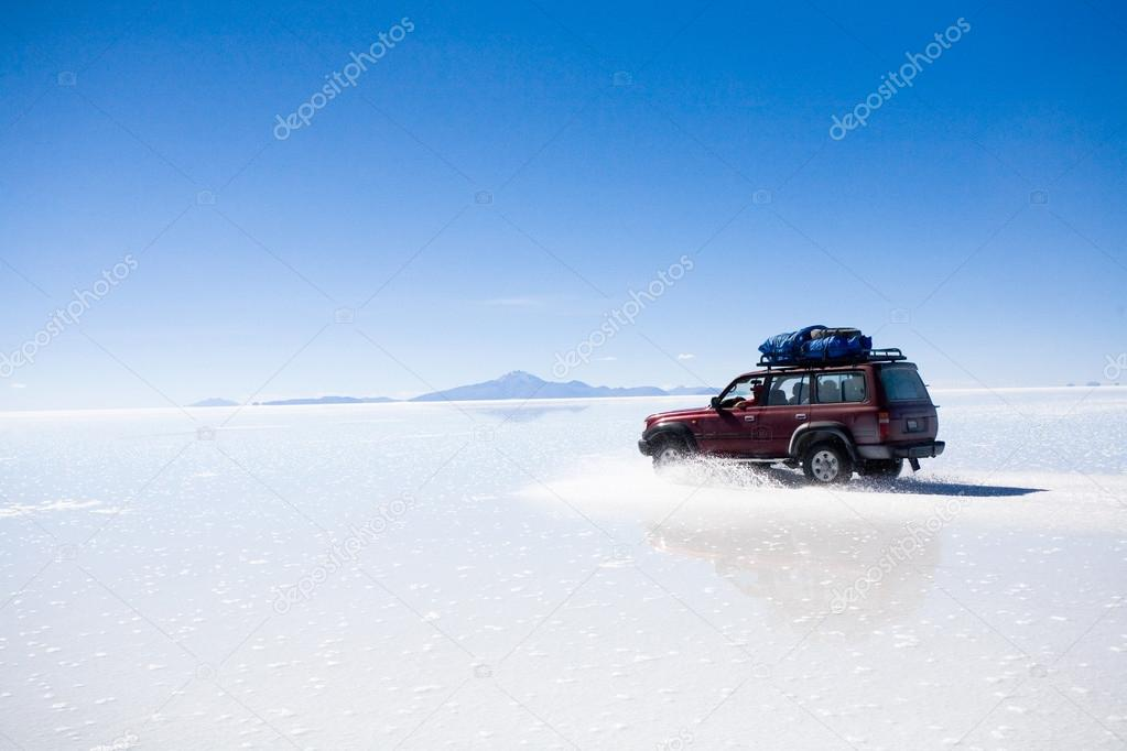 Car on Uyuni Salt Flat