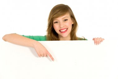 Woman holding blank billboard stock vector