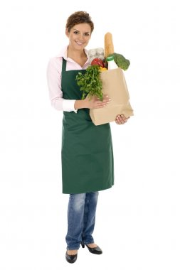 Shop Assistant Holding Grocery Bag