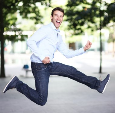 Man jumping with joy