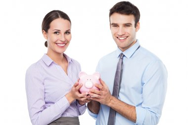 Business people holding piggy bank isolated on white stock vector