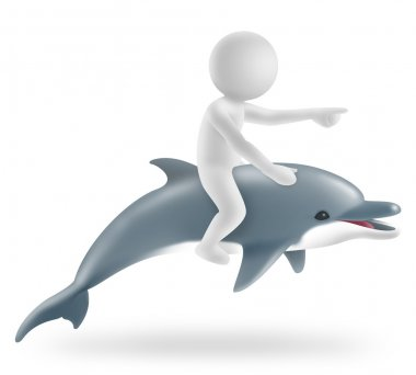 illustration of boy riding on a dolphin