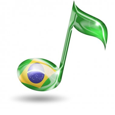 musical note with brazilian flag colors on white background
