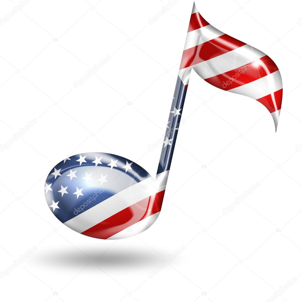 musical note with american flag