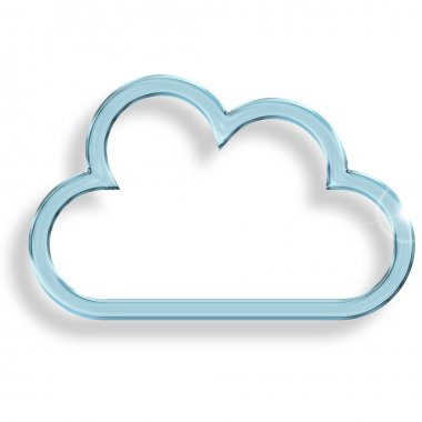 One blue glass cloud on white background