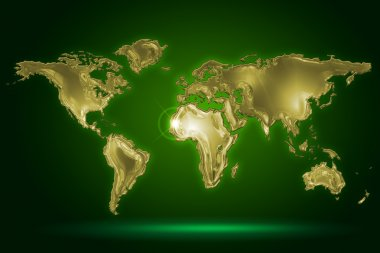 Golden world map on dark green background