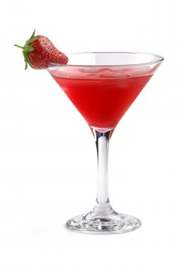 Red cocktail garnished with strawberry in a martini glass on white background