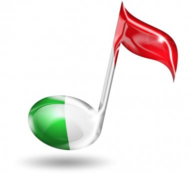 Musical note with italian flag colors