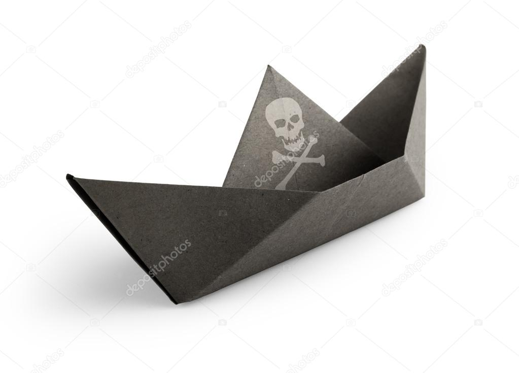 Pirate Ship Made Of Paper On White Background Stock Photo C Paulistano 37031525