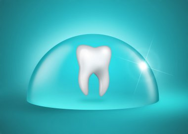 molar tooth under a bell jar on blue background