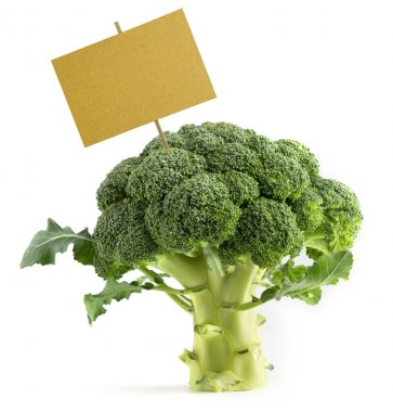 Broccoli with a blank placard