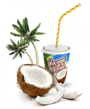 Coconut beverage with fresh coconut and palm trees