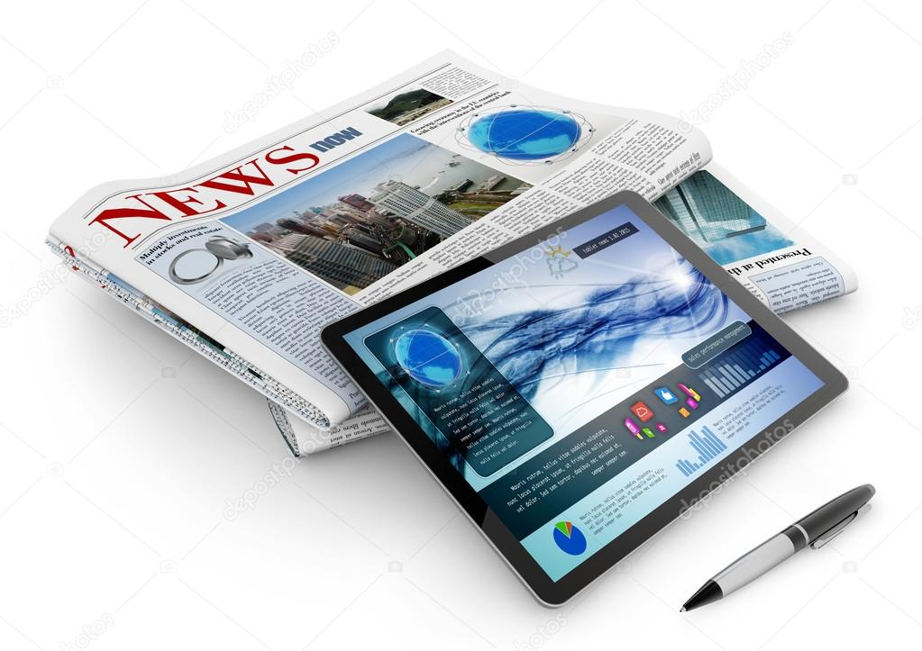 Daily newspaper, tablet and pen on white background