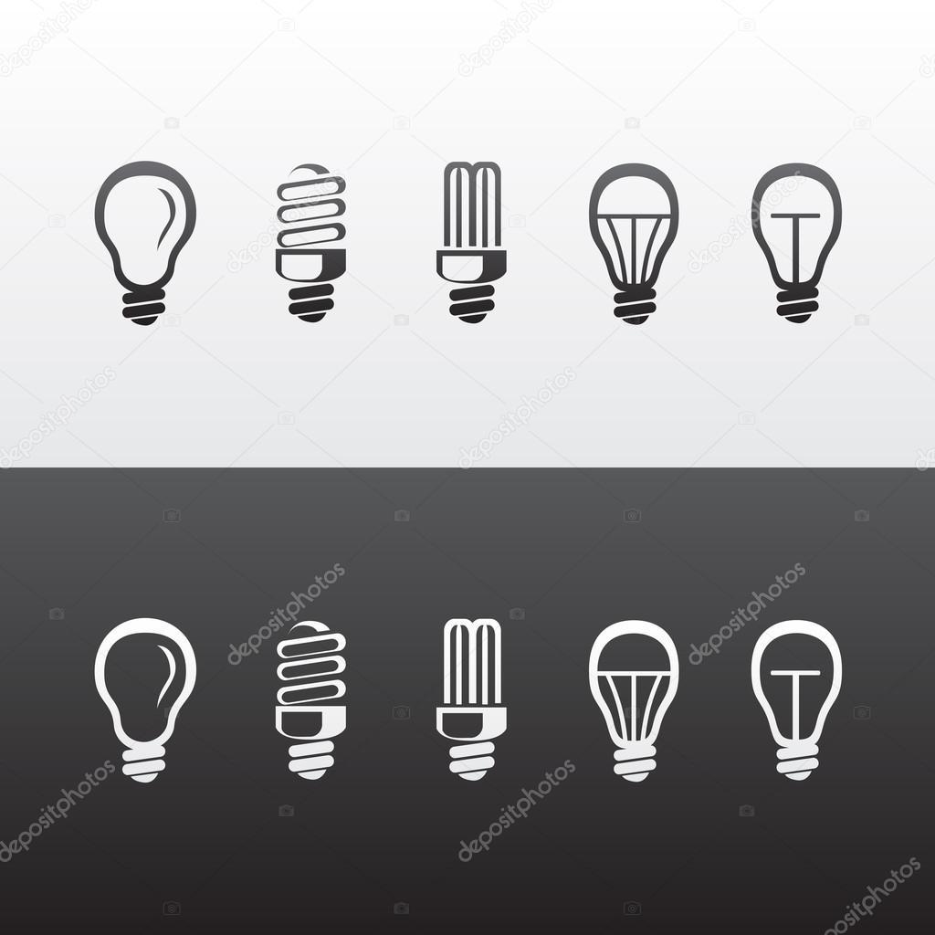 Set of Vector Light Bulbs Icons