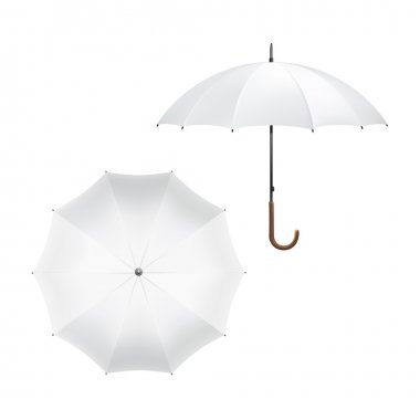 Vector Illustration of Blank White Umbrella