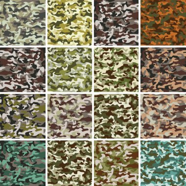 Vector Mega Set of Seamless Camouflage Pattern stock vector