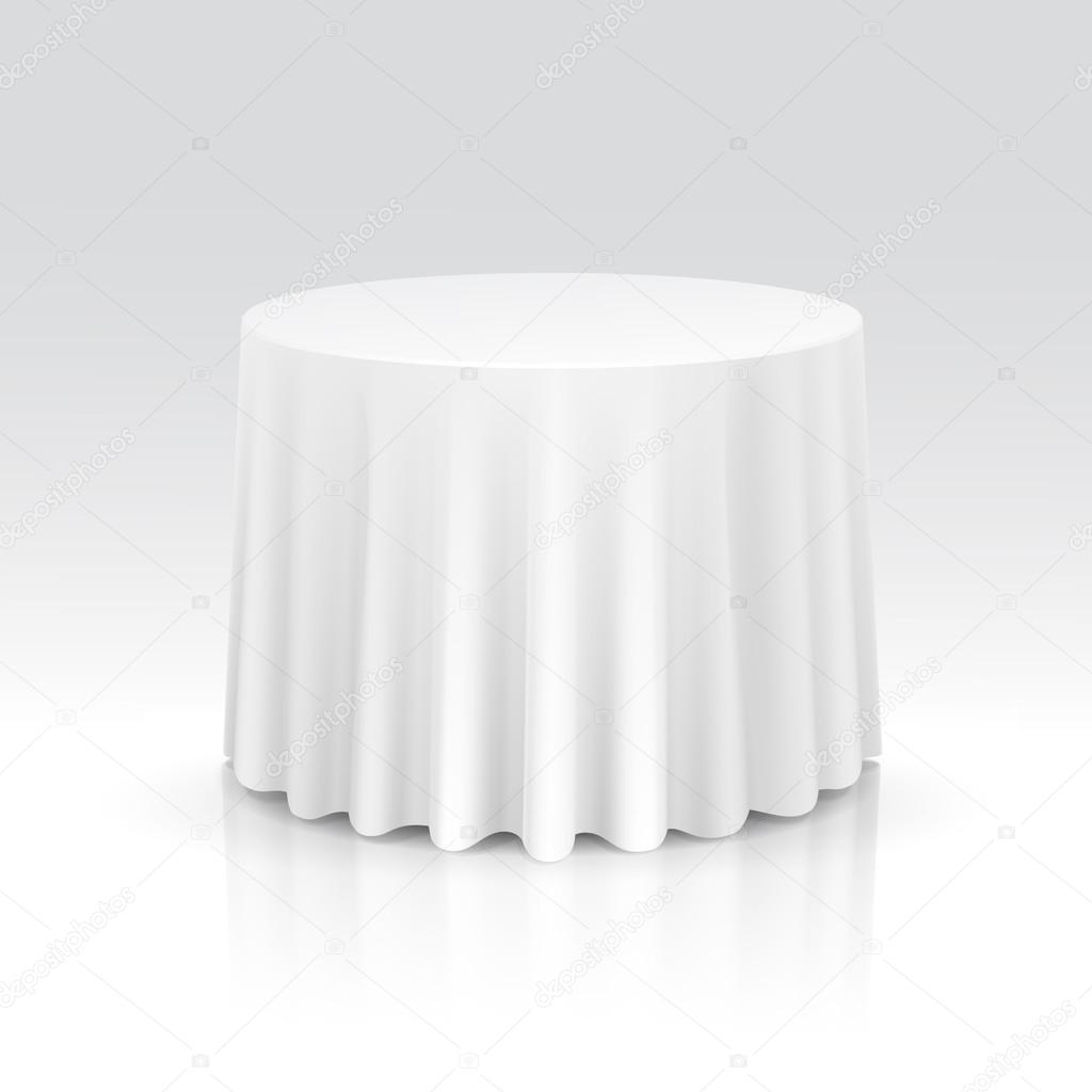 Round Table With Tablecloth.Vector Empty Round Table With Tablecloth Stock Vector C Zonda