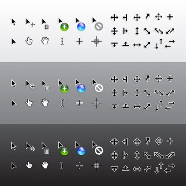 Vector Set of Isolated Mouse Pointer Cursors