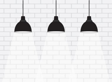 White brick wall with lamps