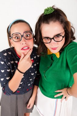 Young nerdy girls