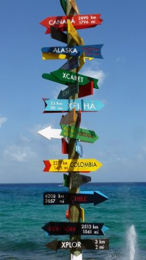 Direction sign in Xcaret