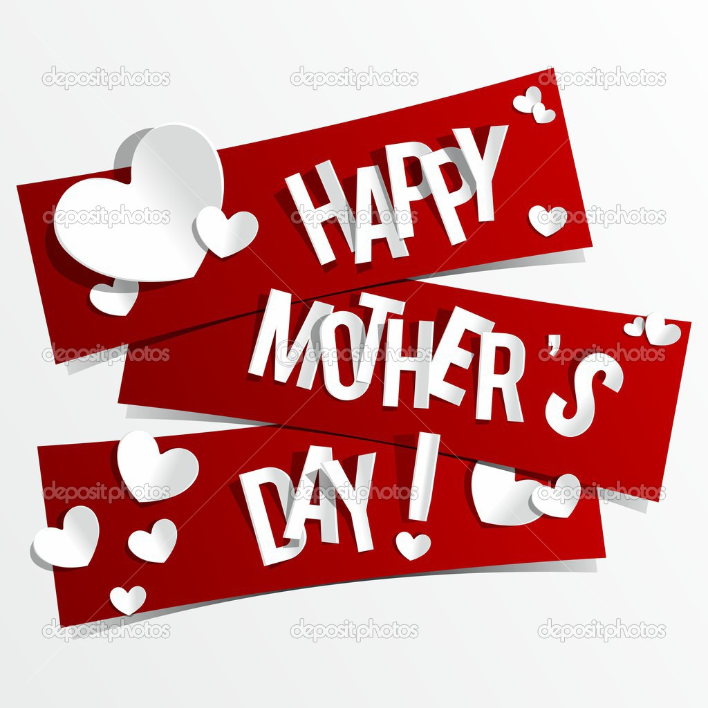 creative happy mother s day card with hearts on ribbons stock