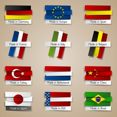 Different Creative Abstract Countries Made In Badges
