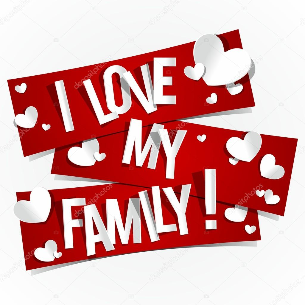 I Love My Family Banners vector illustration clipart vector
