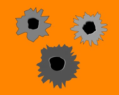 Three bullet holes in the wall on an orange background stock vector