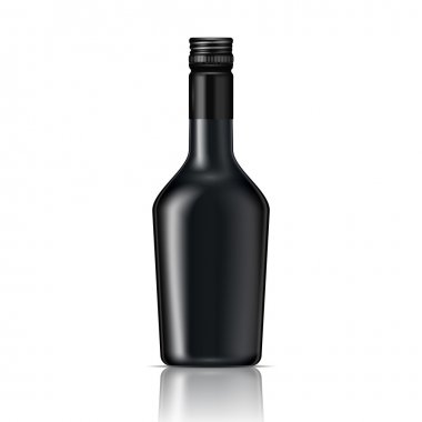 Black glass liqueur bottle with screw cap.