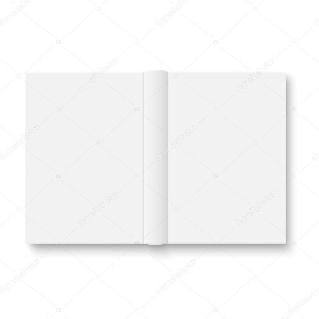 plantilla de libro abierto en blanco con sombras suaves — Archivo ...