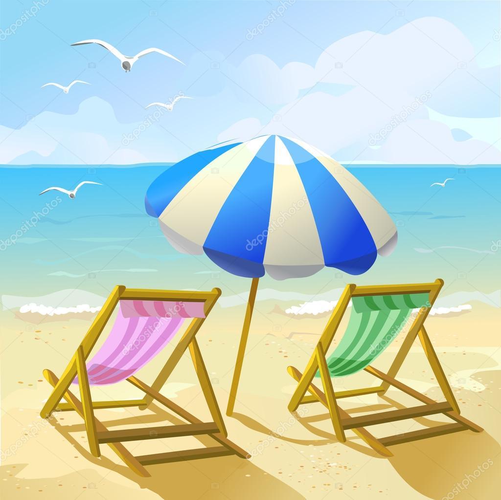 strand mit sonnenschirm und zwei liegest hlen stockvektor moremari19 28447379. Black Bedroom Furniture Sets. Home Design Ideas