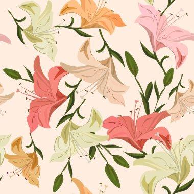 Vintage seamless pattern lily