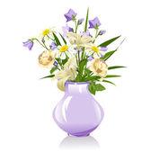Kytice lilie, zvonků, sedmikrásky a růže