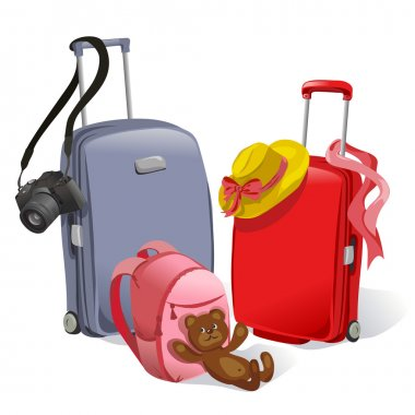 two suitcases and children's backpack