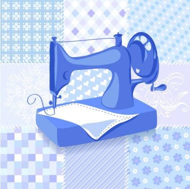 Vintage sewing machine patchwork background