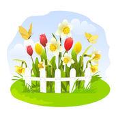 Fotografie Frühlingsblumen in einem kleinen Garten