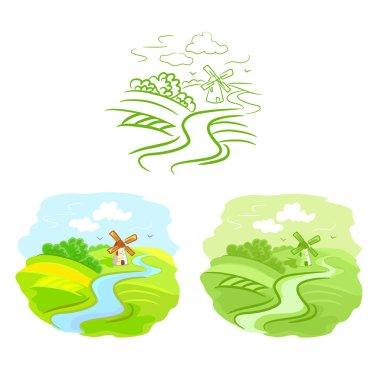 set of sketches rural landscape