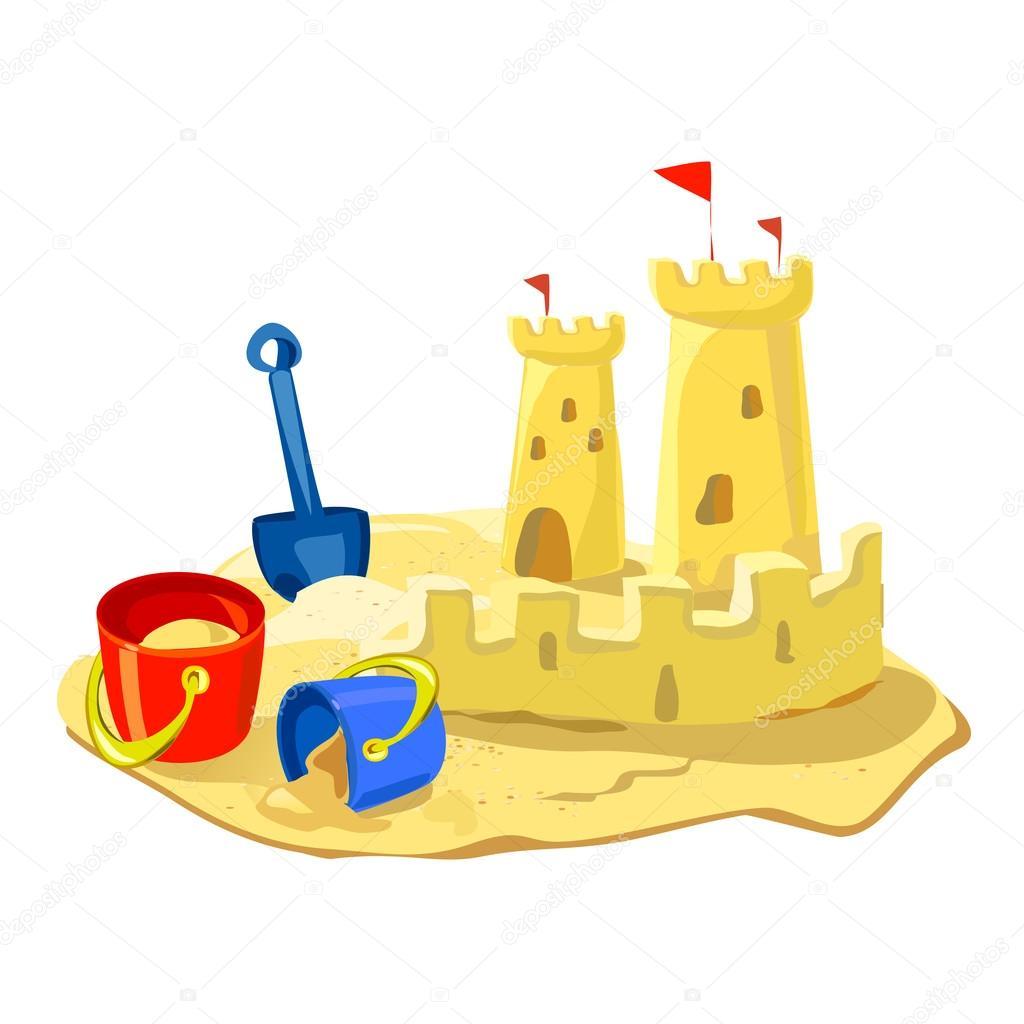 sand castle, beach toys isolated