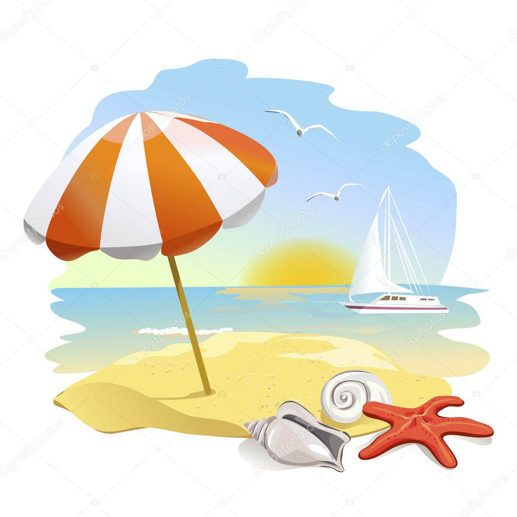 icon to the beach, sun umbrella and shells