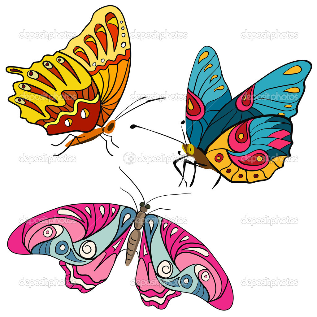 set of colorful butterflies doodle — Stock Vector © moremari19 #51212471
