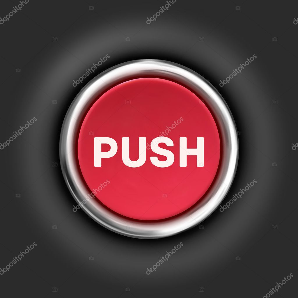 Push button, 3d red glossy metallic icon, vector.