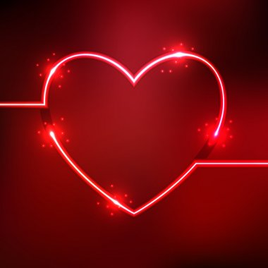 Abstract background with heart shape neon lines