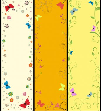 Set Summer banners with flowers and butterflies