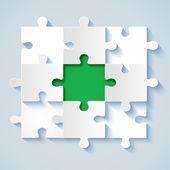 papírové puzzle s zelenou střední pro obchodní koncepce