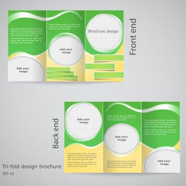 Tri-fold brochure design. Brochure template design with yellow
