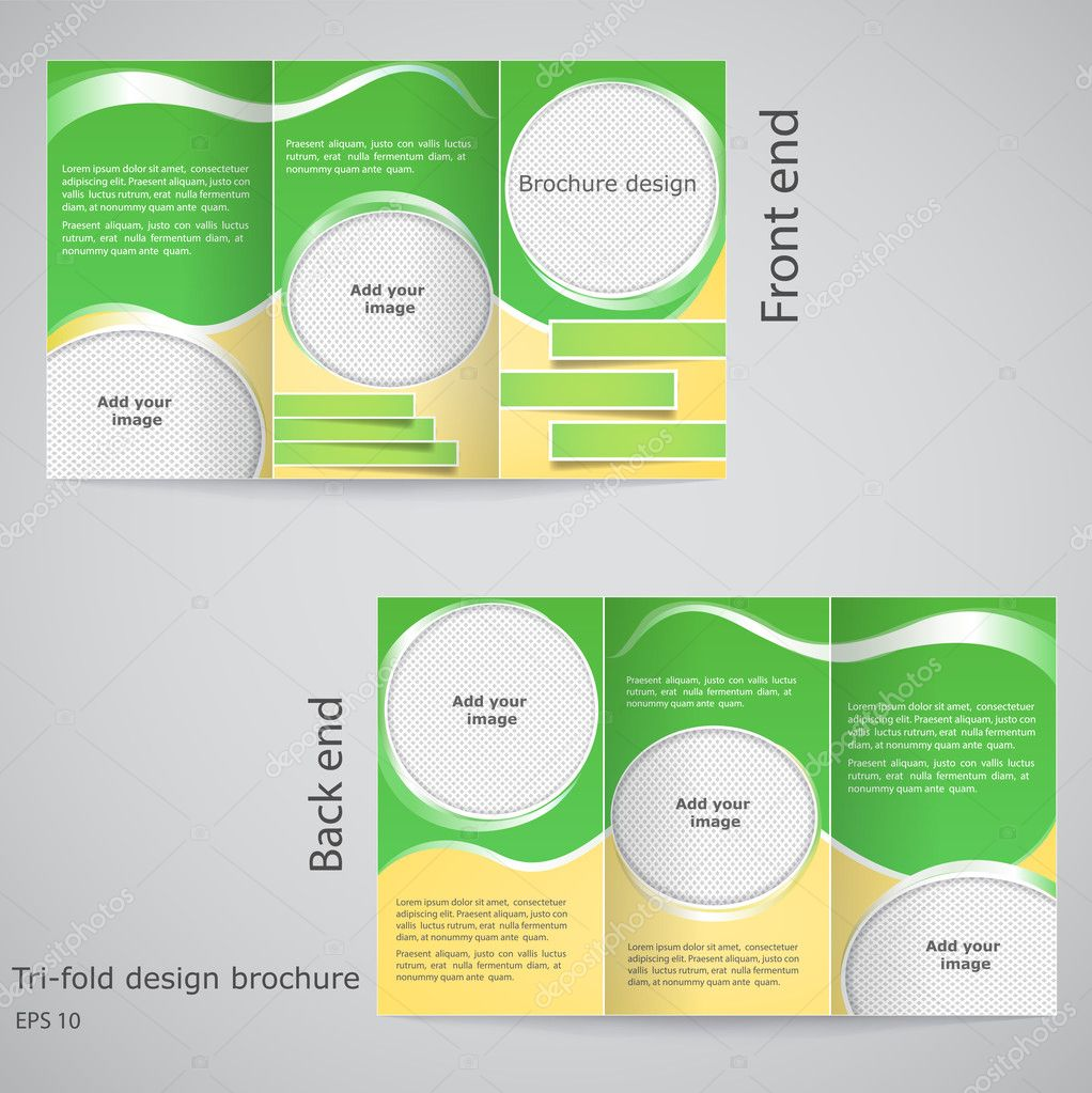 Trifold brochure design Brochure template design with yellow – Three Fold Flyer Template